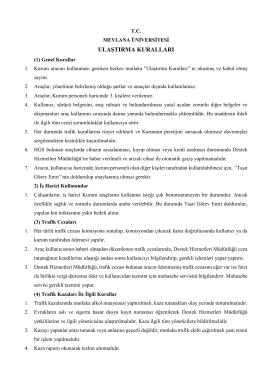 Mevlana Üniversitesi Ulaştırma Kuralları