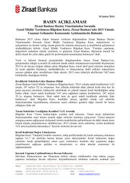 basın açıklaması - Ziraat Bankası