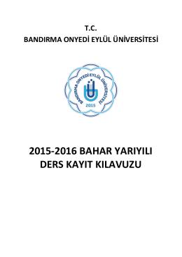 2015-2016 bahar yarıyılı ders kayıt kılavuzu
