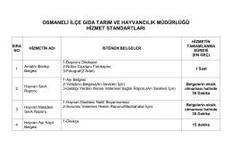 Hizmet Standartları - Bilecik Tarım İl Müdürlüğü