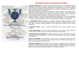 pisikolojik danışmanlık ve rehberlik hizmetleri