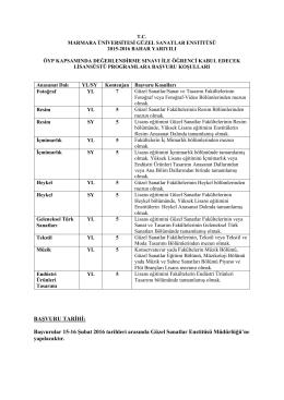 BAŞVURU TARİHİ: Başvurular 15-16 Şubat