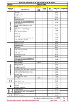 2016 Analiz Fiyat Listesi