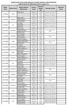 2015-2016 eğitim öğretim yılı şubat ayı pansiyon belletici öğretmen