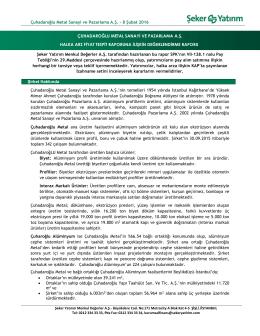 Çuhadaroğlu Metal Sanayi ve Pazarlama A.Ş. Fiyat