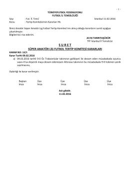 sal tertip komitesi kararı