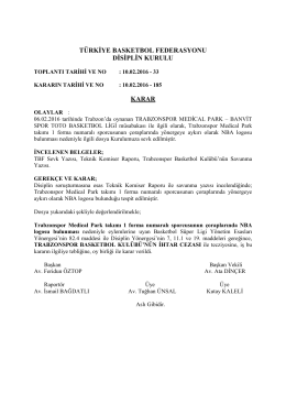 karar 185 trabzonspor medical park – banvit spor toto basketbol ligi
