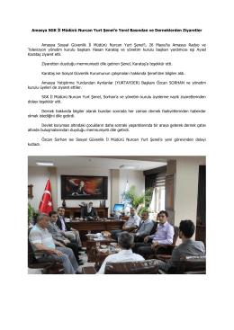 Amasya SGK İl Müdürü Nurcan Yurt Şenel`e Yerel Basından ve
