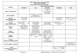 Bahar Dönemi Ders Programı (GSF)