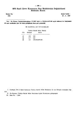 2872 Sayılı Çevre Kanununun Bazı Maddelerinin