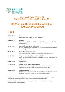 STK`lar için Stratejik İletişim Eğitimi1 TASLAK PROGRAM