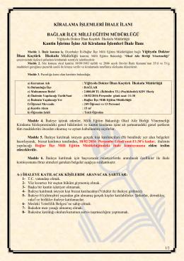 İHALE İLANI - bağlar ilçe millî eğitim müdürlüğü