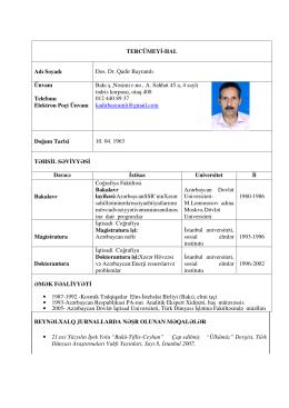 TERCÜMEYİ-HAL Adı Soyadı Dos. Dr. Qadir Bayramlı Ünvanı