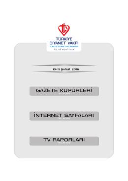 11.02.2016 Basında TDV - Türkiye Diyanet Vakfı