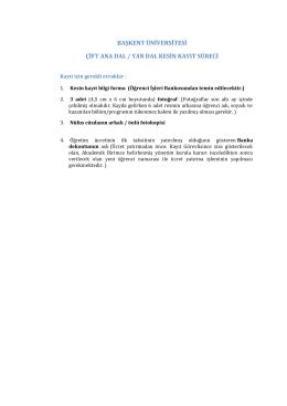 başkent üniversitesi çift ana dal / yan dal kesin kayıt süreci