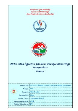 Adana 2015-2016 Öğretim Yılı Kros Türkiye Birinciliği Yarışmaları