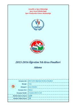 Adana 2015-2016 Öğretim Yılı Kros Finalleri