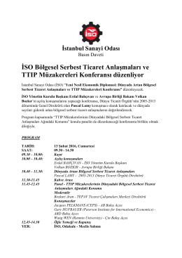 İSO Bölgesel Serbest Ticaret Anlaşmaları ve TTIP Müzakereleri