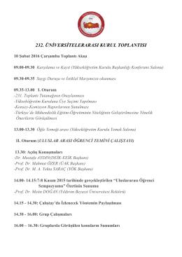232. üniversitelerarası kurul toplantısı
