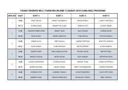young seniors milli takım belirleme 12.şubat.2016 cuma maç programı