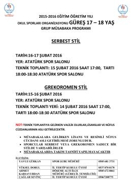 GRUP 17 / 18 YAŞ - Antalya Gençlik ve Spor İl Müdürlüğü