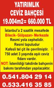 YATIRIMLIK CEVİZ BAHÇESİ 19.004m2= 660.000 TL
