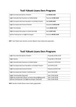 Tezli Yüksek Lisans Ders Programı Tezli Yüksek Lisans Ders Programı
