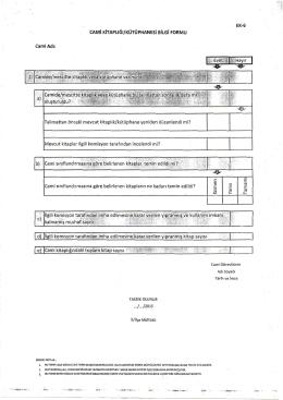 cami kitaplığı-kütüphanesi bilgi formu ek-6