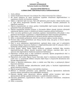 1. Açılış yoklama 3. Bir önceki toplantıya ait zümre kararlarının