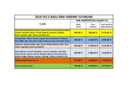2016 yılı il bazlı kira yardımı tutarları