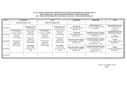II. Sınıf Haftalık Ders Programı