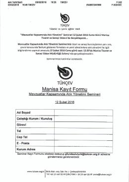 Katılım Formu - Manisa Ticaret ve Sanayi Odası