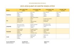 şubat 2016 kantin yemek listesi - ORTAHİSAR