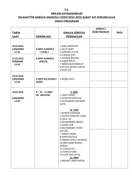 Sorumluluk sınav tarihleri, 10-12 Şubat 2016