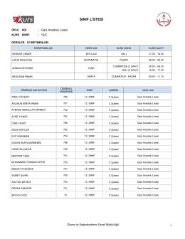 sınıf listesi - Gazi Anadolu Lisesi