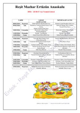 Şubat Yemek Listesi - Reşit Mazhar Ertüzün Anaokulu