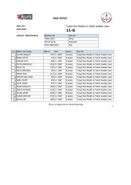 sınıf listesi - Turgut Reis Mesleki ve Teknik Anadolu Lisesi