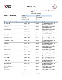 sınıf listesi - Gaziosmanpaşa F. Özüdoğru Çok Programlı Anadolu