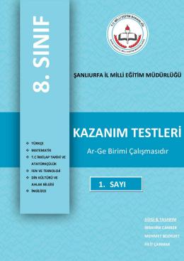 Türkçe Kazanım Testi 1. Sayısı İçin Tıklayınız