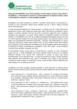 Stanovisko Zemědělského svazu České republiky k návrhu zákona