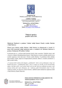Tisková zpráva - Ministryně Marksová a poslanec Velebný zahájí