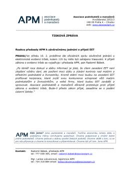 Tisková zpráva - Asociace podnikatelů a manažerů