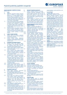 Pojistné podmínky pojištění vstupenek - FAN
