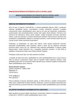 mimosoudní řešení spotřebitelských sporů (adr)