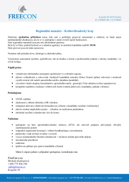 Regionální manažer - Královéhradecký kraj
