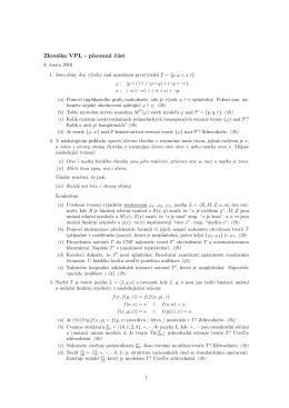 Zkouška VPL - p´ısemná cást