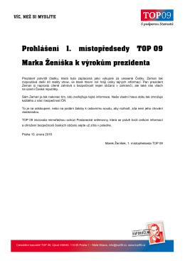 Prohlášení 1. místopředsedy TOP 09 Marka
