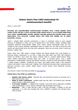 Sodexo Gastro Pass CARD zdokonaluje trh zaměstnaneckých