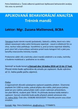 Čtěte více... - česká odborná společnost aplikované behaviorální