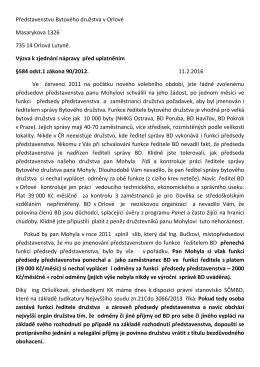 Představenstvu Bytového družstva v Orlové Masarykova